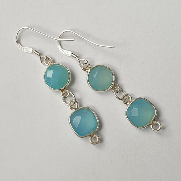 Natural Aquamarine 2 Gem Sterling Silver Hook Earrings - Gift Box - Charming And Trendy Ltd
