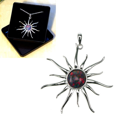 "Red Opal Sun Sterling Silver Pendant 16"",18"",20"",22"" and 24"" - Gift Box - Charming And Trendy Ltd"