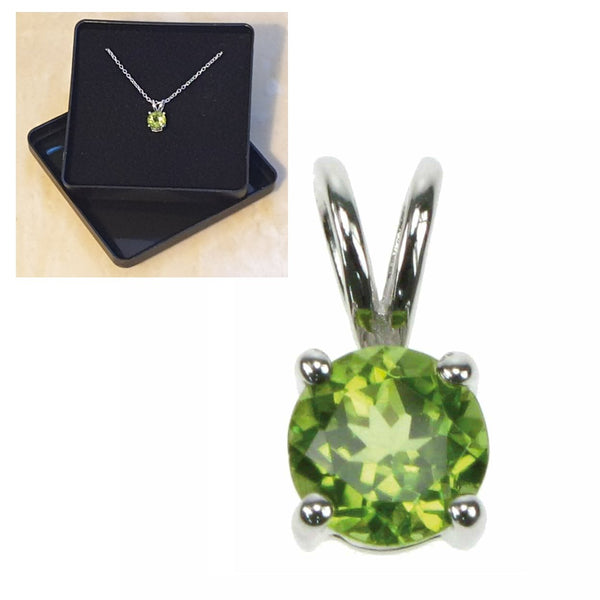 "925 Sterling Silver Peridot Solitaire Pendant 16"",18"",20"",22"" and 24"" - Gift Boxed - Charming And Trendy Ltd"