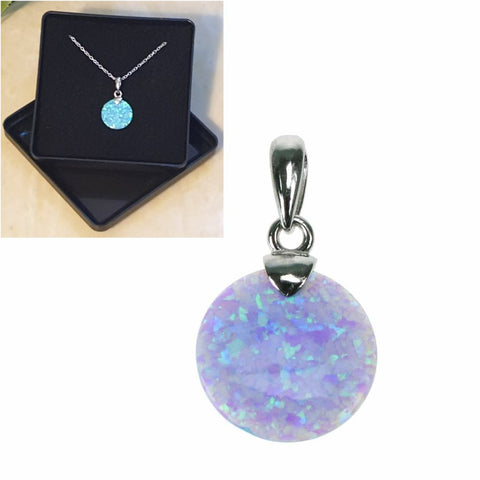 "Sky Opal Button Pendant 16"",18"",20"",22"" and 24"" - Gift Boxed - Charming And Trendy Ltd"