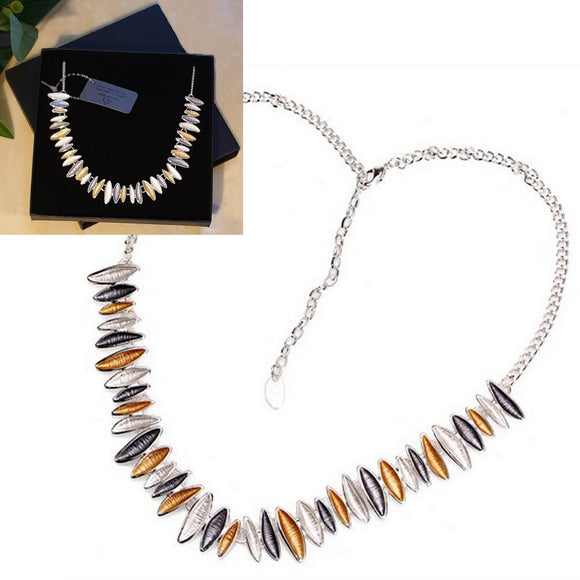 3 Tone Enamel Detailed Silver Plated Necklace - Gift Box - Charming And Trendy Ltd