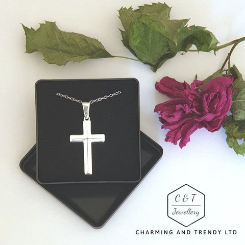 925 Solid Sterling SilverBevelled Cross Pendant 31x20mm and Chain - Gift Boxed - Charming And Trendy Ltd