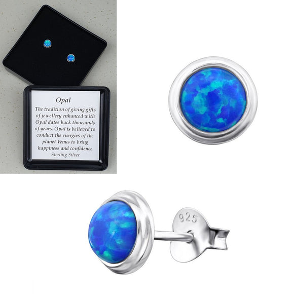 925 Sterling Silver Round Pacific Blue Opal Ear Studs - Gift Boxed - Charming And Trendy Ltd