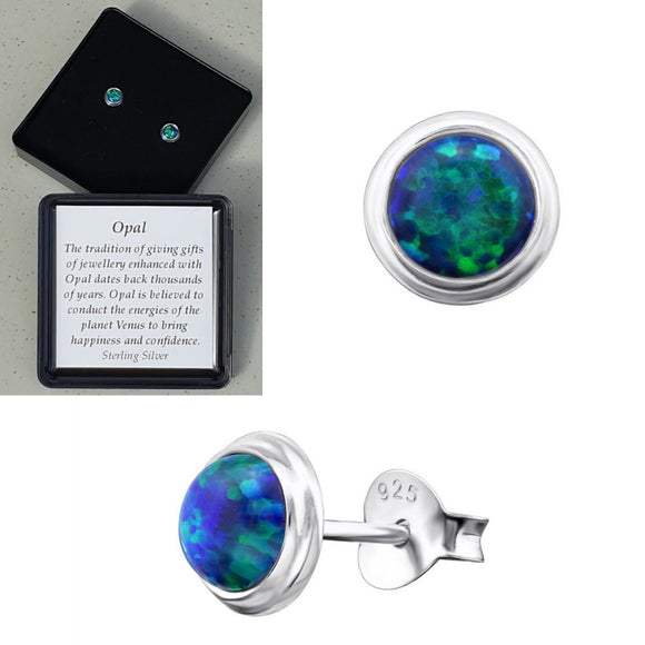 925 Sterling Silver Round Peacock Opal Ear Studs - Gift Boxed - Charming And Trendy Ltd