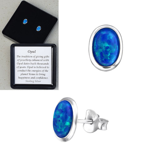 925 Sterling Silver Oval Pacific Blue Opal Ear Studs - Gift Boxed - Charming And Trendy Ltd