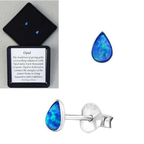 925 Sterling Silver Teardrop Pacific Blue Opal Ear Studs - Gift Boxed - Charming And Trendy Ltd