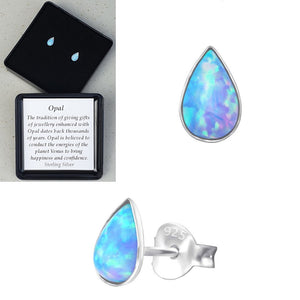 925 Sterling Silver Teardrop Azure Blue Opal Ear Studs - Gift Boxed - Charming And Trendy Ltd