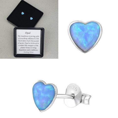 925 Sterling Silver Heart Azure Blue Opal Ear Studs - Gift Boxed - Charming And Trendy Ltd