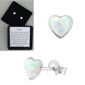 925 Sterling Silver Heart Fire Snow Opal Ear Studs - Gift Boxed - Charming And Trendy Ltd