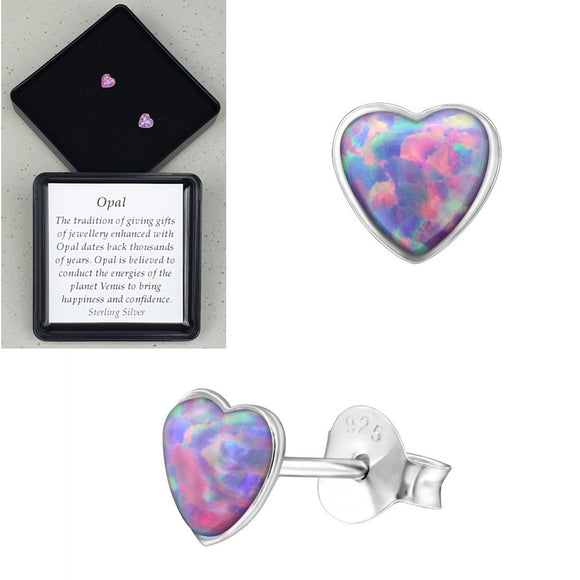 Sterling Silver Heart Multi Lavender Ear Studs - Gift Boxed - Charming And Trendy Ltd