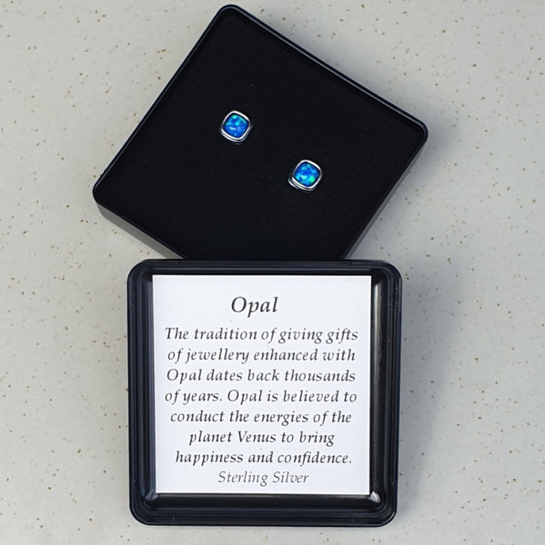 925 Sterling Silver Square Pacific Blue Opal Ear Studs - Gift Boxed - Charming And Trendy Ltd