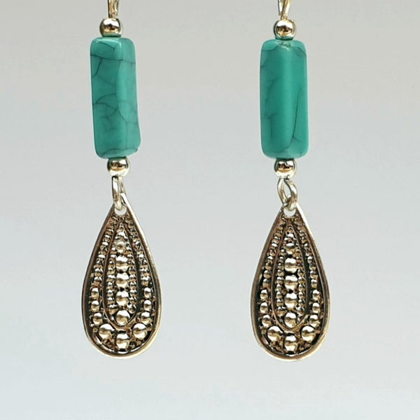 Silver and Turquoise Drop Earrings - Charming And Trendy Ltd