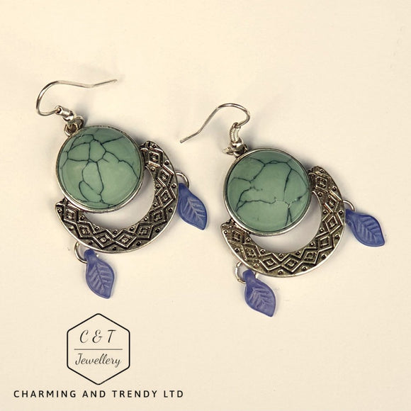Silver and Turquoise Dome Drop Earrings - Charming And Trendy Ltd