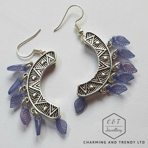 Silver and Purple Dangle Earrings - Charming And Trendy Ltd