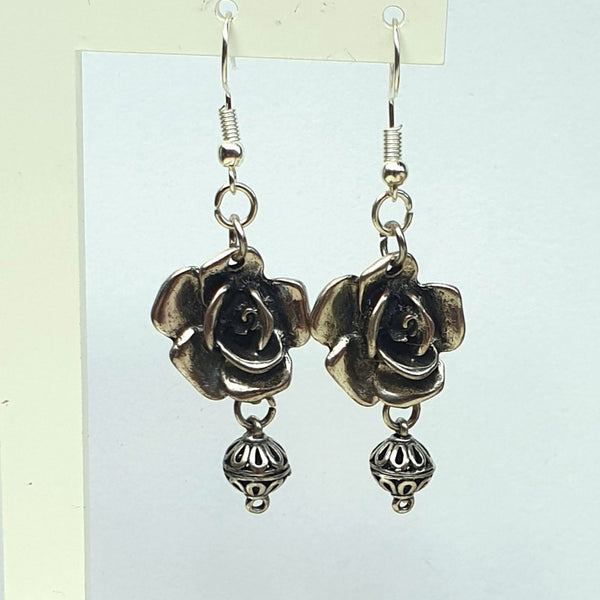 Silver Grey Metal Rose Dangle Earrings - Charming And Trendy Ltd