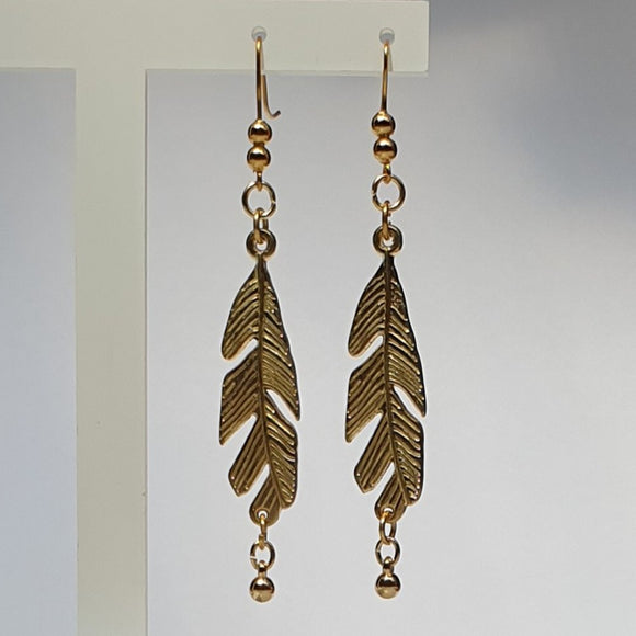 Leaf and Bead Dangle Earrings - Charming And Trendy Ltd