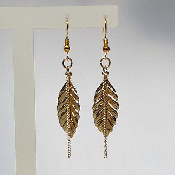 Leaf and Chain Dangle Earrings - Charming And Trendy Ltd