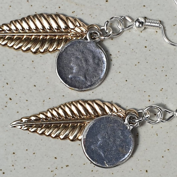 Leaf and Vintage Coin Dangle Earrings - Charming And Trendy Ltd