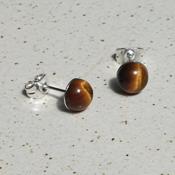 Natural Tiger Eye Silver Plated Stud Earings - Charming And Trendy Ltd