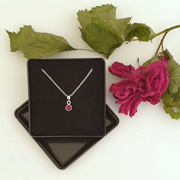 925 Sterling Silver Red Cubic Zirconia Pendant - Gift Boxed - Charming And Trendy Ltd