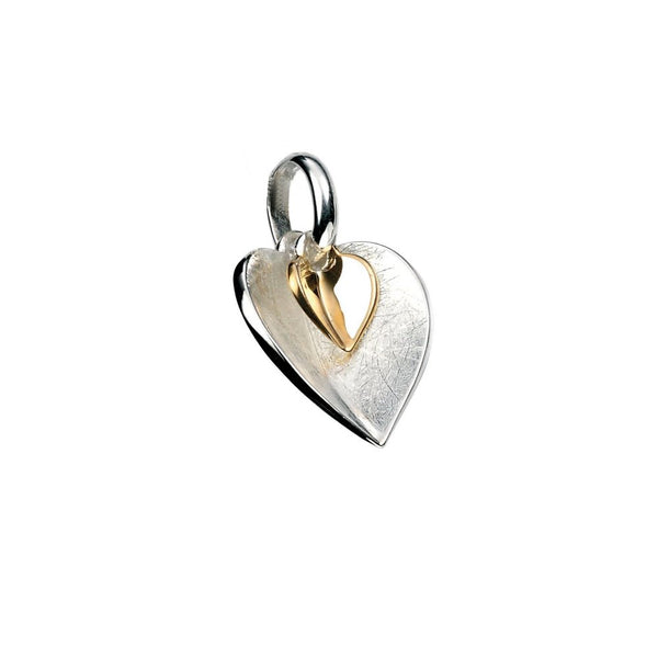 925 Sterling Silver & Gold Plated Double Heart Pendant & Chain - Gift Boxed - Charming And Trendy Ltd
