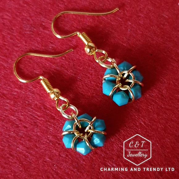 Turquoise Gold Plated Drop Earrings - Charming And Trendy Ltd