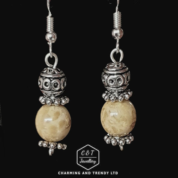 Brown Marbled Ball Drop Earrings - Charming And Trendy Ltd