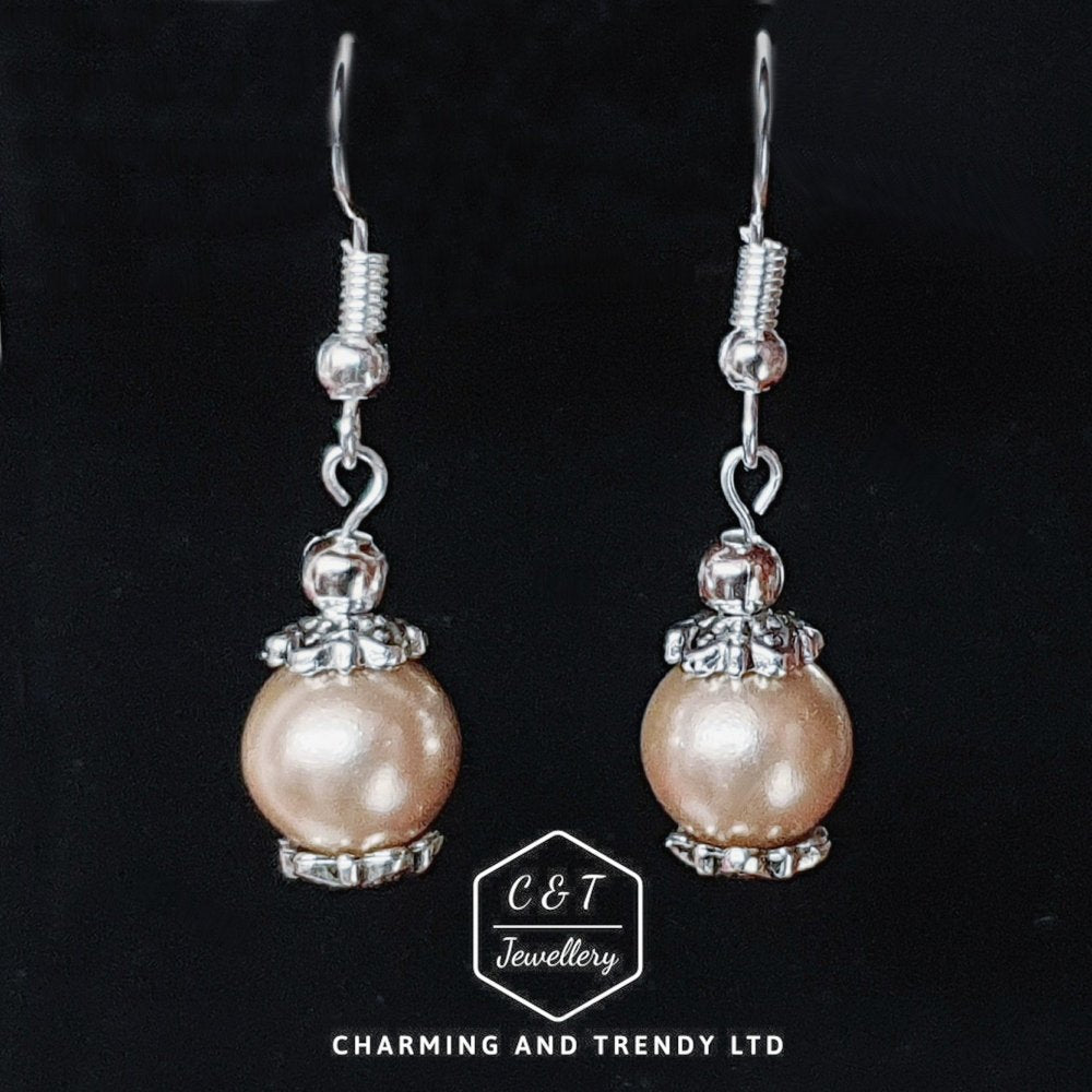 Glass Pearl Drop Earrings - Charming And Trendy Ltd