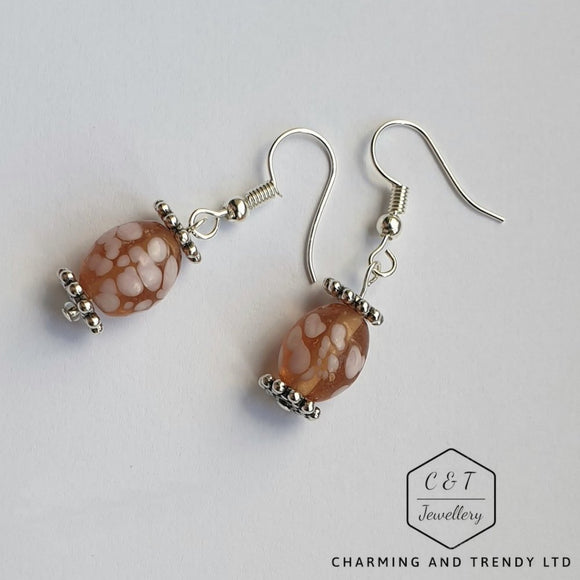 Orange and Pink Oval Bead Drop Earrings - Charming And Trendy Ltd