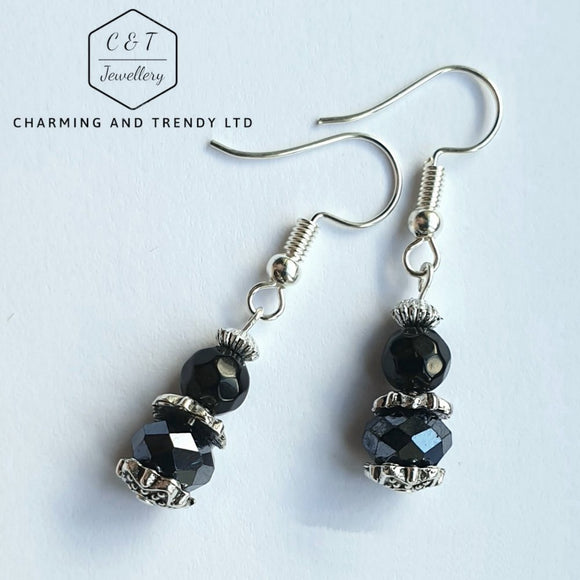 Black Crystal Drop Earrings - Charming And Trendy Ltd