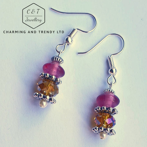 Orange and Purple Drop Earrings - Charming And Trendy Ltd