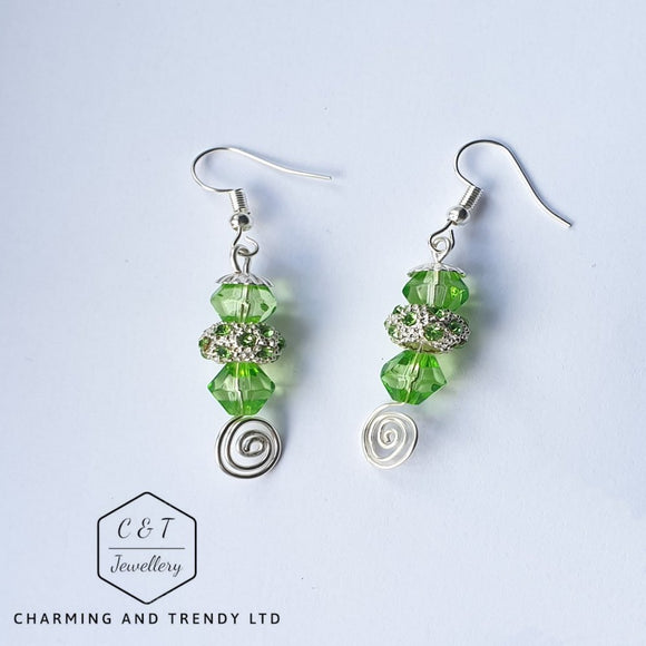 Green Crystal Drop Earrings - Charming And Trendy Ltd
