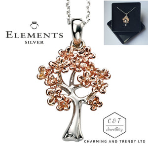 14K Rose Gold Plated 925 Sterling Silver Tree Pendant & Chain - Gift Boxed - Charming And Trendy Ltd