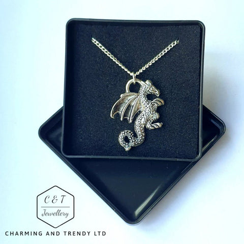 "Dragon Tibetan Silver Style Pendant, 18"" Silver Plated Chain & Gift Box - Charming And Trendy Ltd"