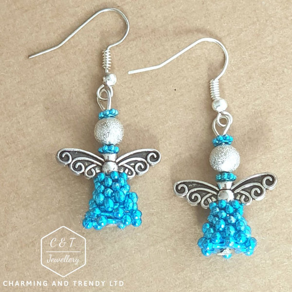 Antique Silver & Turquoiser Beaded Angel Earrrings - Gift Boxed - Charming And Trendy Ltd