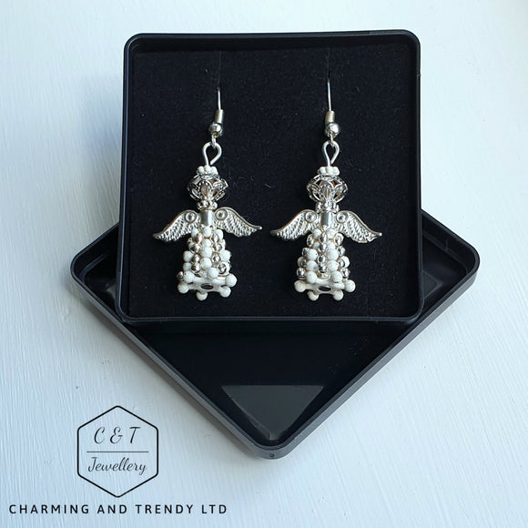 Antique Silver & White Beaded Angel Earrrings - Gift Boxed - Charming And Trendy Ltd
