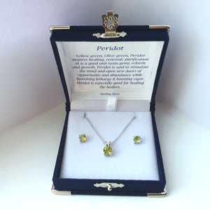 925 Sterling Silver Peridot Solitaire Pendant & Stud Earring Set (Boxed) - Charming And Trendy Ltd