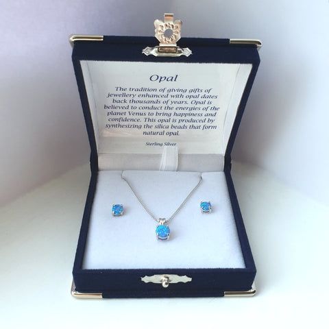 925 Sterling Silver Blue Opal Solitaire Pendant & Stud Earring Set (Boxed) - Charming And Trendy Ltd