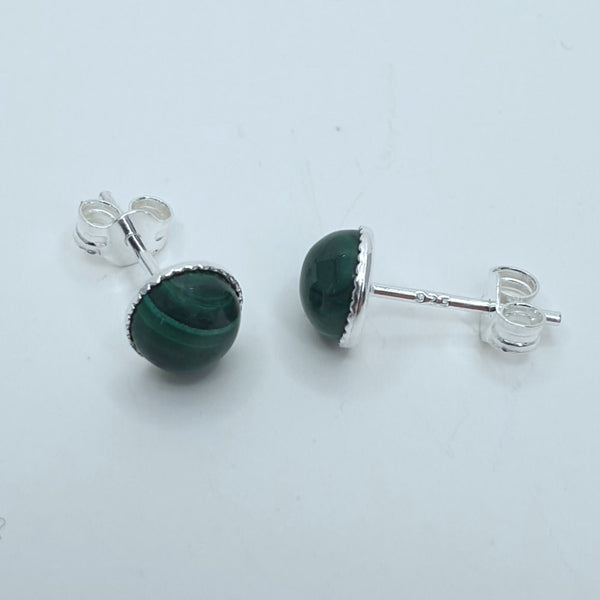 Sterling Silver Malachite Stud Earrings - Charming and Trendy Ltd
