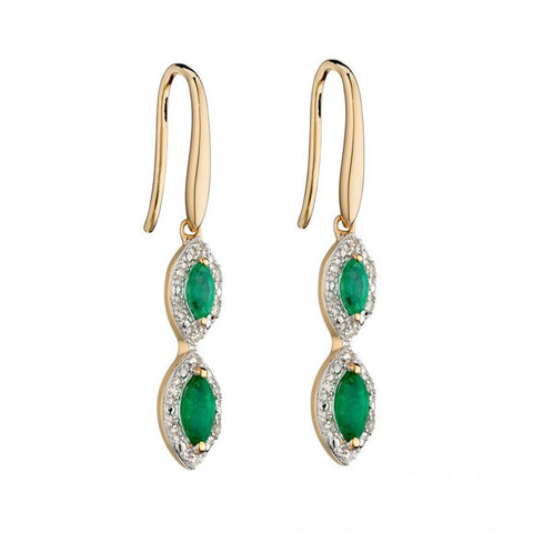 9ct Gold Marquise Drop Emerald & Diamond Earrings by Elements Gold - Charming and Trendy Ltd