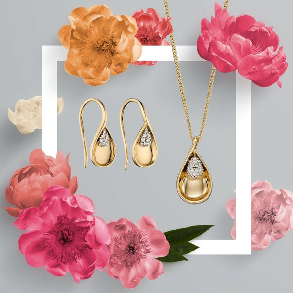 9ct Gold Teardrop Diamond Earrings by Elements Gold (GE2370) - Charming and Trendy Ltd