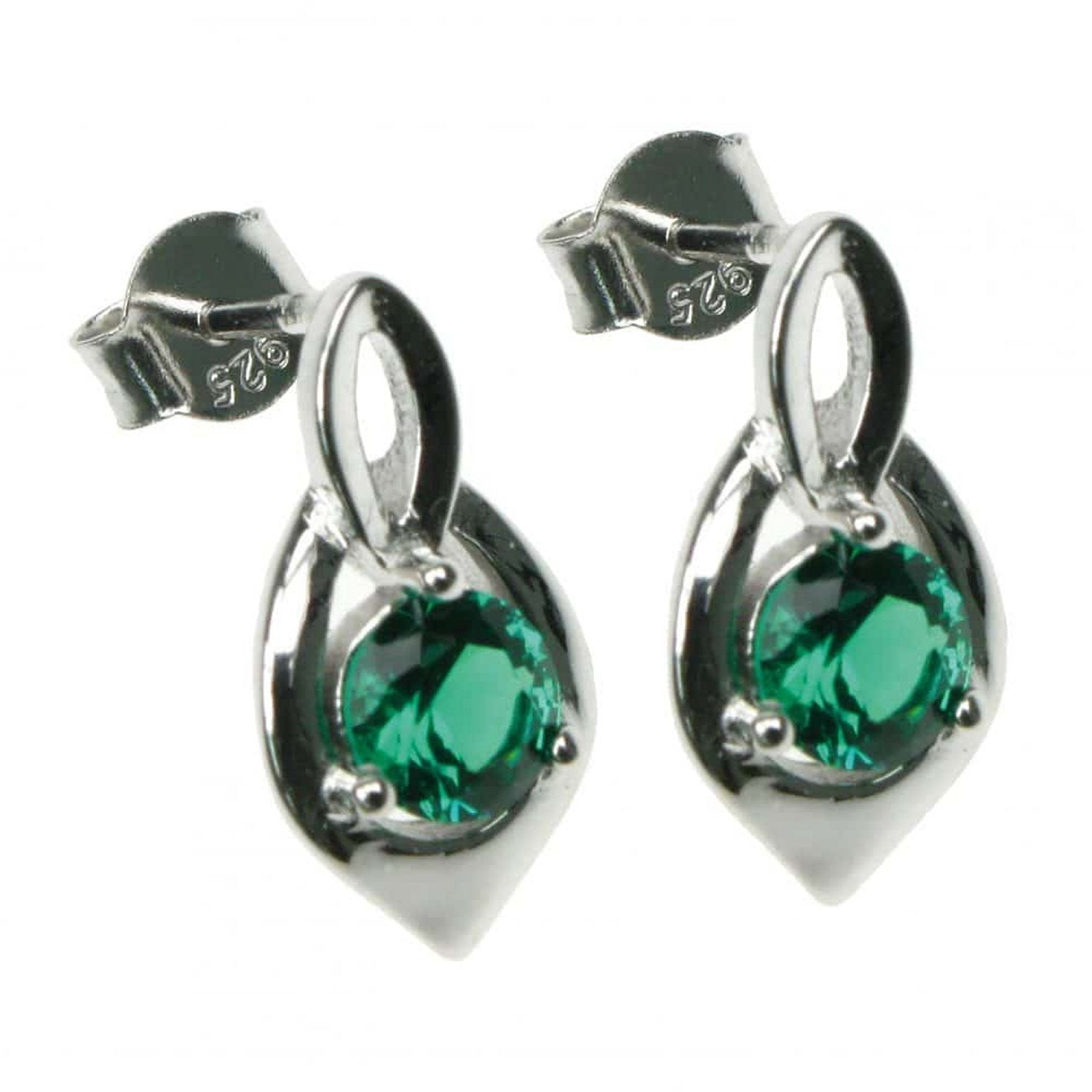 Emerald Round Facet Shield Style Sterling Silver Stud Earrings - Charming And Trendy Ltd