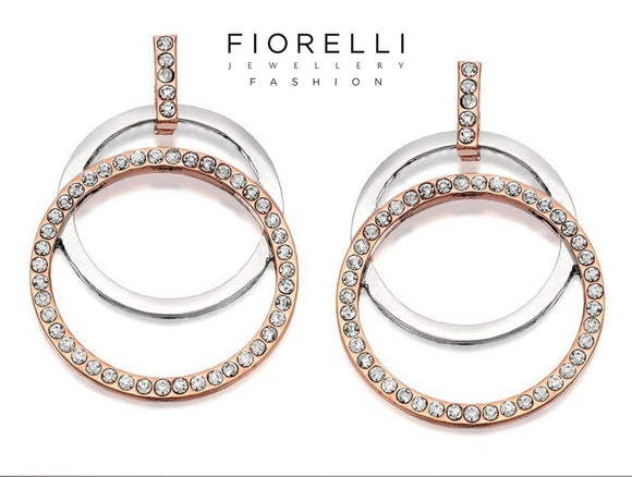 Fiorelli Two Tone Circles Crystal Hook Wire Earrings - E5236