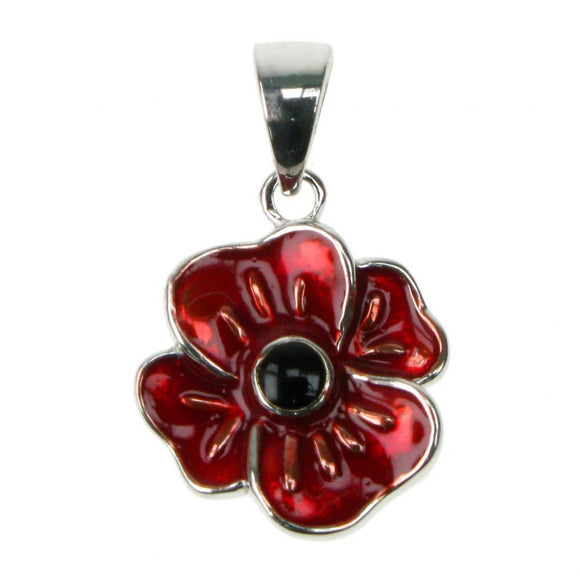 Enamel Poppy Sterling Silver Pendant with 18