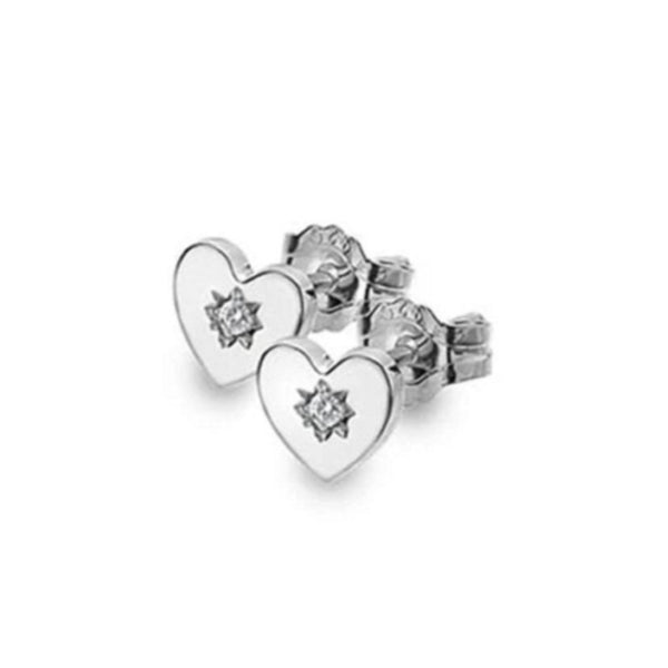 925 Sterling Silver Heritage Diamond Set Heart Stud Earrings - Charming and Trendy Ltd