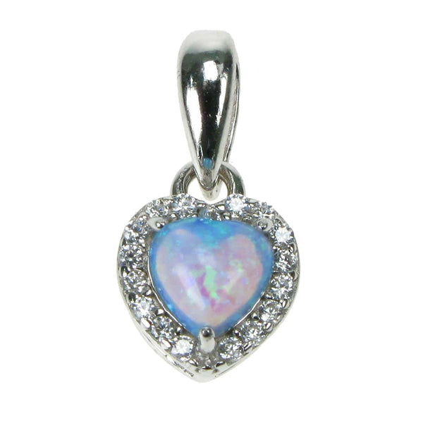 "Sky Opal Heart Sterling Silver Pendant With Cubic Zirconia & 18"" Chain - Gift Box - Charming And Trendy Ltd"