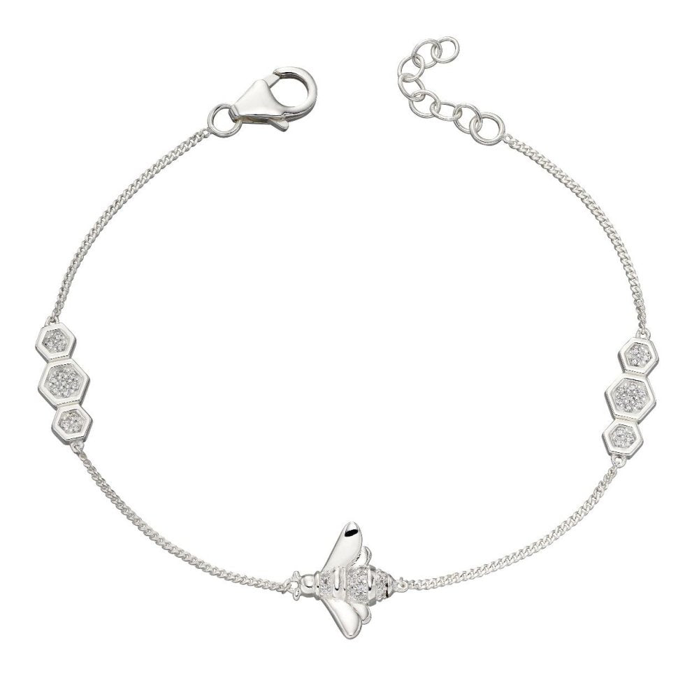 925 Sterling Silver Cubic Zirconia Bee Bracelet from Elements Silver - Charming And Trendy Ltd