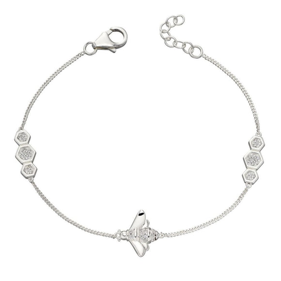 925 Sterling Silver Cubic Zirconia Bee Bracelet from Elements Silver