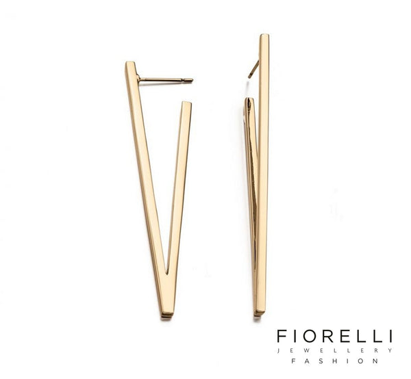 Fiorelli Fashion 9K Gold Plated V Shape Earrings - E5241 - Charming And Trendy Ltd