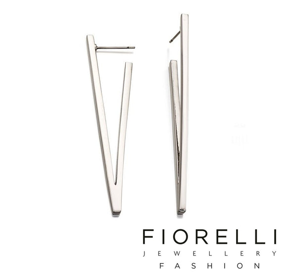 Fiorelli Fashion Imitation Rhodium Plated V Shape Earrings - E5242